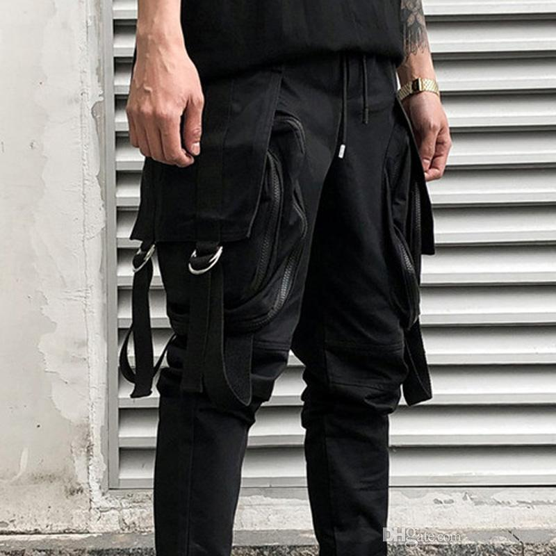 Mens Fashion Bottoms Belted Webbing 4 Pocket Black Bending Pants Zipper Long Pants High Street Slacks Trousers Mens Cargo pants