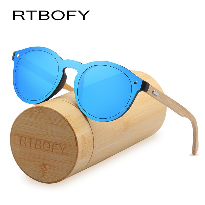 80fa69d104 RTBOFY Wood Sunglasses for Women   Men Bamboo Frame Glasses Handmade ...