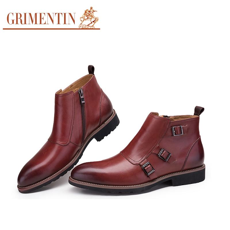 GRIMENTIN Brand Luxury Mens Ankle Boots 2018 Genuine Leather Handmade Black  Brown Italian Wedding Men Shoes Size 38 44 2O22 Cheap Shoes For Women  Snowboard ... 539bf2706a