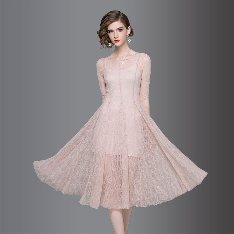 2018 Formal Banquet Dresses Women Net Yarn Party Long Dress Slim