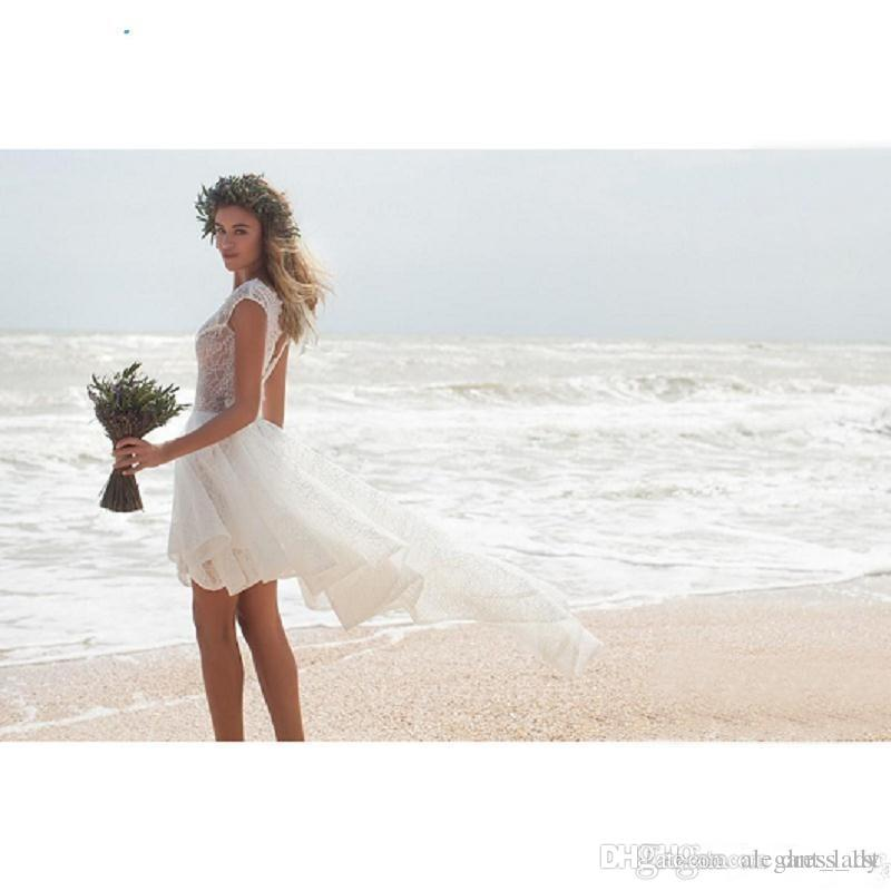Modest 2018 Ivory Lace Short Beach Wedding Dresses Cheap Sexy Backless Bateau High Low Boho Bridal Gowns Custom Made China
