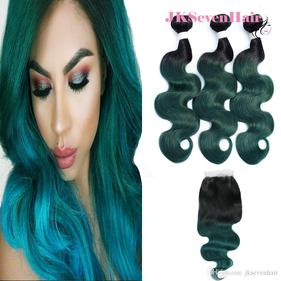 Two Tone Dark Green Peruvian Human Hair Extensions With 4x4inch Lace