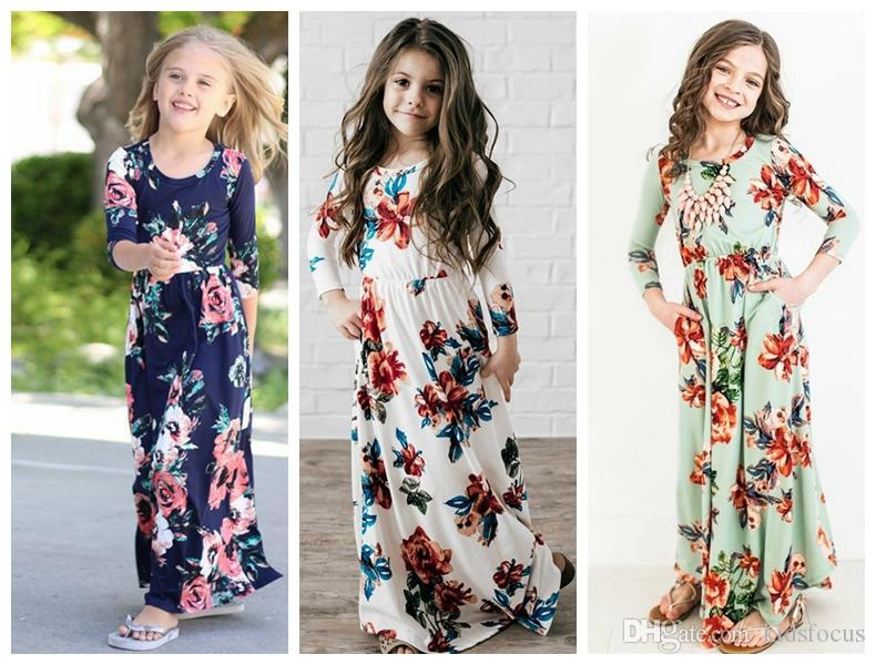 640422ae68709 2019 New Little Girl Clothes Infant Baby Girls Dress National Floral Print Kids  Long Sleeve Dresses Baby Girls Full Length Party Dresses From Kidsfocus, ...