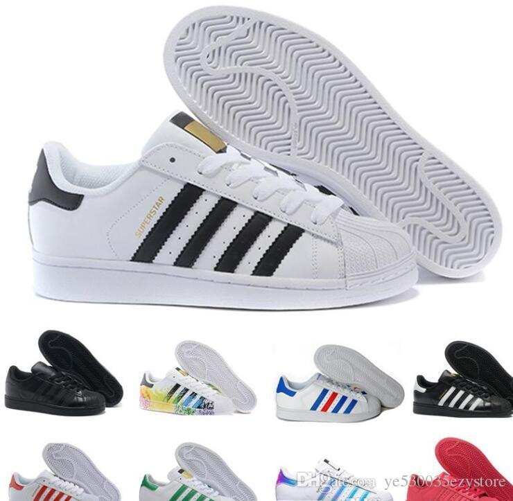 separation shoes 356d1 0548e Compre Adidas Superstar Smith CALIENTE 2018 Zapatos De Los Hombres Para Las  Mujeres Zapatos Blanco Shoe Laser Dazzle Color Superstar Shell Head Zapatos  ...