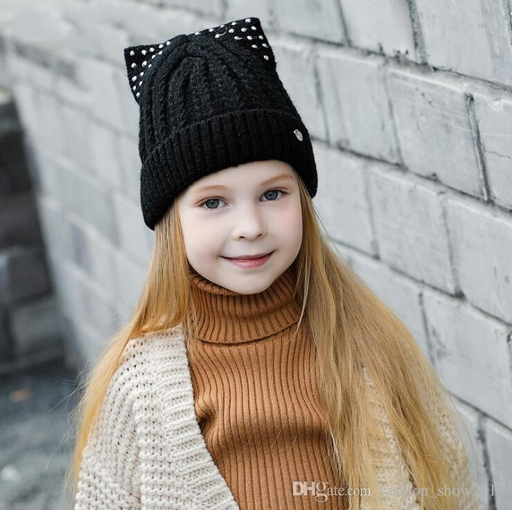 Cute Cat Ear Toddler Hats Winter Baby Caps Warm Knitted Girls Beanies Skullies Lovely Cotton Thick Hat