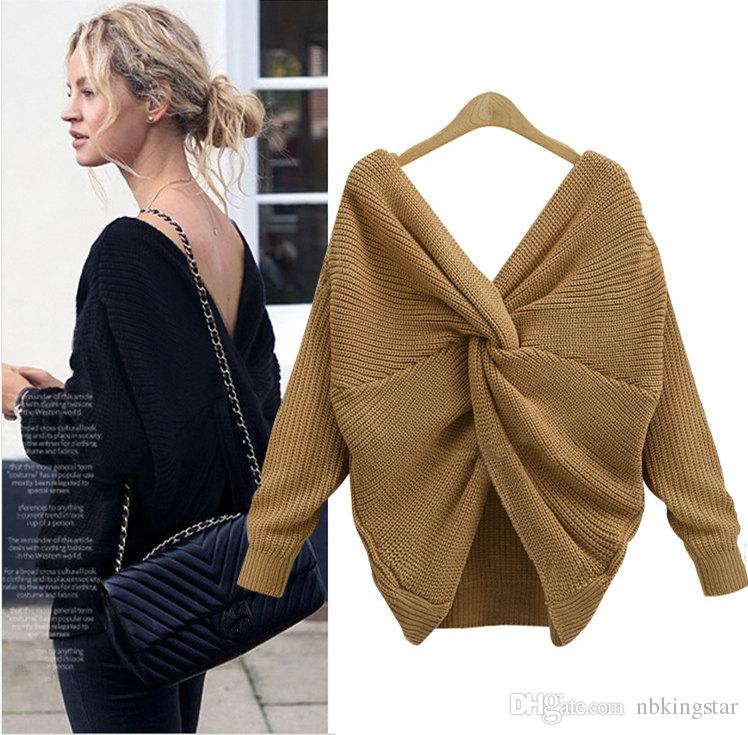 0c194f5f3 2019 2017 Women Sexy V Neck Twisted Back Jumpers Backless Cross Long Sleeve  Knitted Pullovers Sweaters Pull Femme From Nbkingstar