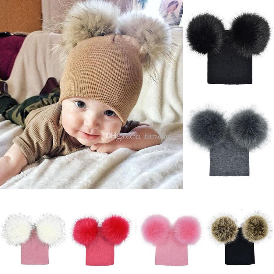 29bc70848e2b4 INS Baby Pom Pom Winter Knit Beanie Hats Kids Girls Boys Faux Fur Pompom  Ball Photography Caps 7 Styles Infant Hat C5466 Baby Pompom Cap Pom Beanie  Hats ...