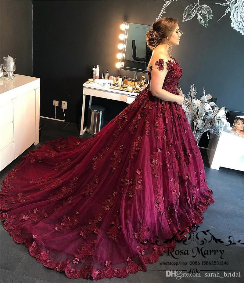 9cbac4d3d4 Princess 3D Floral Ball Gown Quinceanera Prom Dresses 2018 Vintage Lace  Appliques Sequined Arabic Dubai African Formal Evening Party Gowns Indie  Prom ...