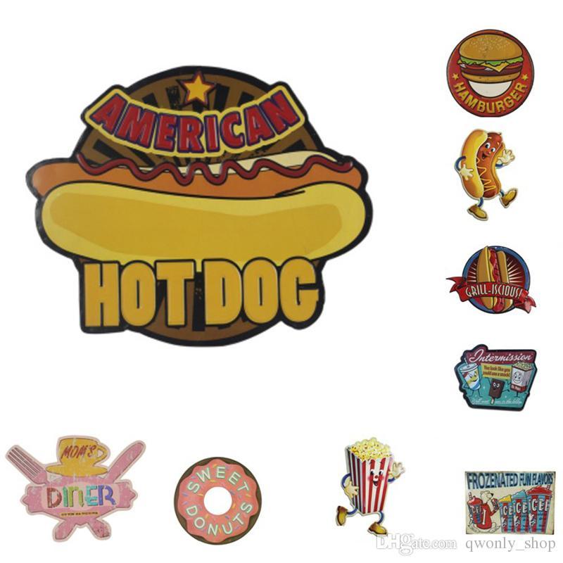 2018 Creative Vintage Metal Tin Signs Hamburgers Hot Dogs Food ...