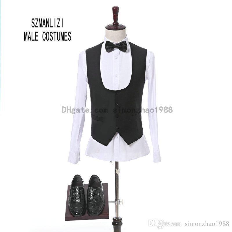 2018 Nouvelle Arrivée Marque 3 Pièces Un Bouton Slim Fit Imprimé Marié Smokings Shawl Revers Garçons D'honneur Meilleur Homme Mens Costumes De Mariage Personnalisé