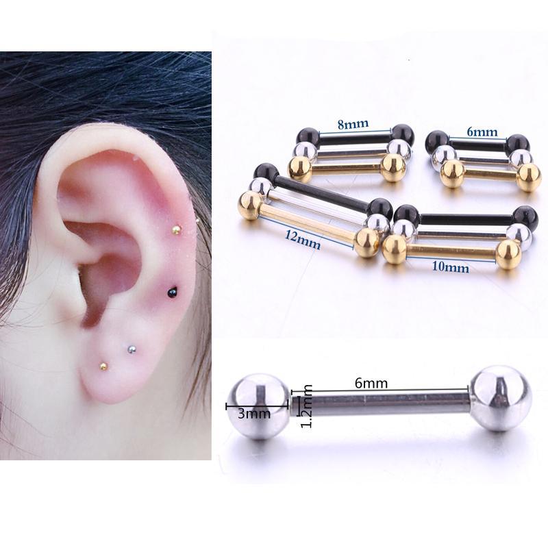432bb7cae72a Compre Pendientes De Barra Pequeña Stud Stud Dos Bolas Ear Stud Joyería De  Perforación Para El Oído Para Unisex Mini Cartílago Piercing Accesorios 1  Par A ...