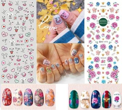 Big Sheet Nail Water Sticker DS468 472 Cute Snow Flower Nails ...