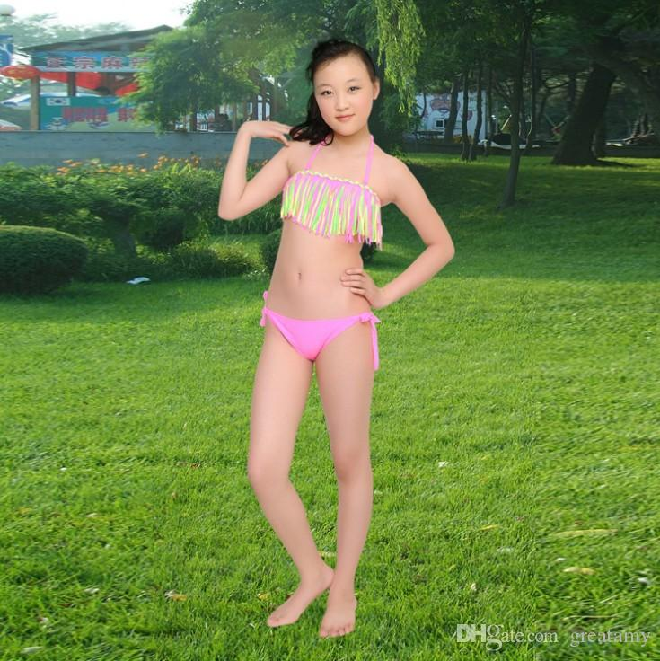 Kids bikini girls swimwear bathing sets kid swimming suit tassel swimsuit children bikinis baby set new biquini infantil
