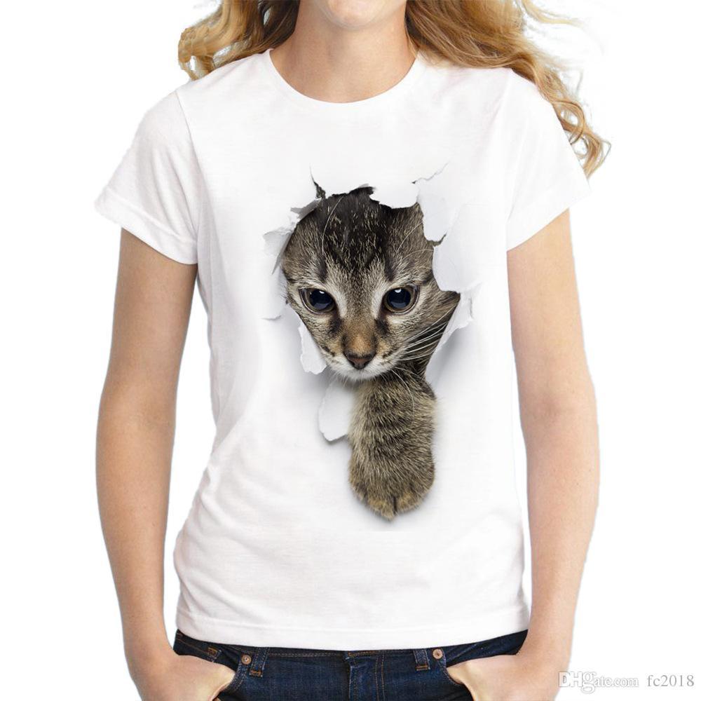 Compre 2018 Diseñador De Verano Camisetas Para Mujeres Tops Marca Agujero  Vestido Vestido Cat 3D Imprimir Camiseta Hombre De Manga Corta Camiseta  Blanca ... 7da0839592820