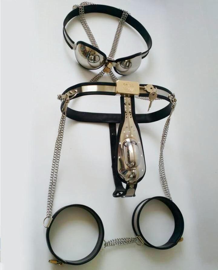 Keuschheitsgürtel für Männer + Oberschenkelmanschetten + Anal Butt Plug + Katheterschlauch + Keuschheits-BH Bondage Sexspielzeug