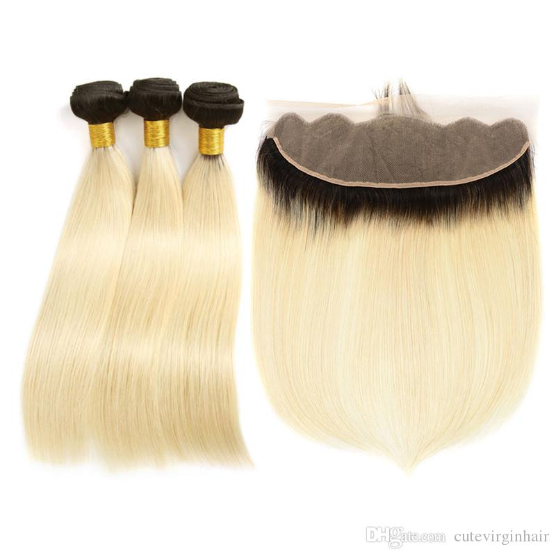 Ombre 1B 613 Dark Roots Blonde Hair With Ear To Ear 13*4 Full Lace Frontal Closure With 3 Bundles Straight Human Hair Weaves