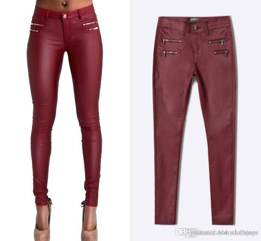 Low Waist Faux PU Leather Pants Women Double Zipper Skinny Jeans Femme High Stretch Push Up Pants Feminino Wine Red Pantalon Femme