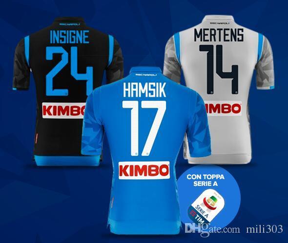 2018 2019 Serie A Napoli Camisetas De Fútbol Locales 18 19 Naples Camiseta  De Fútbol Azul Personalizado   14 MERTENS   17 HAMSIK   24 Camiseta De  Fútbol ... c638458f0ad20