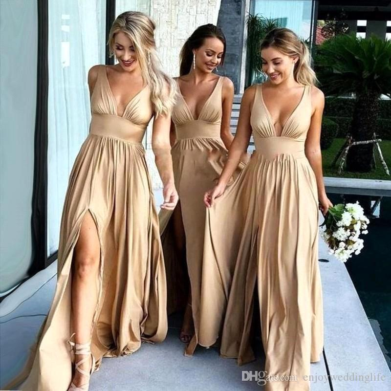 2018 Sexy Long Gold Bridesmaid Dresses Deep V Neck Empire Elastic Silk Like Satin Side Split Summer Beach Boho Bridesmaid Gowns BA9981 Dresses For Wedding Guests Chiffon Dresses From Enjoyweddinglife, $70.19| DHgate.Com