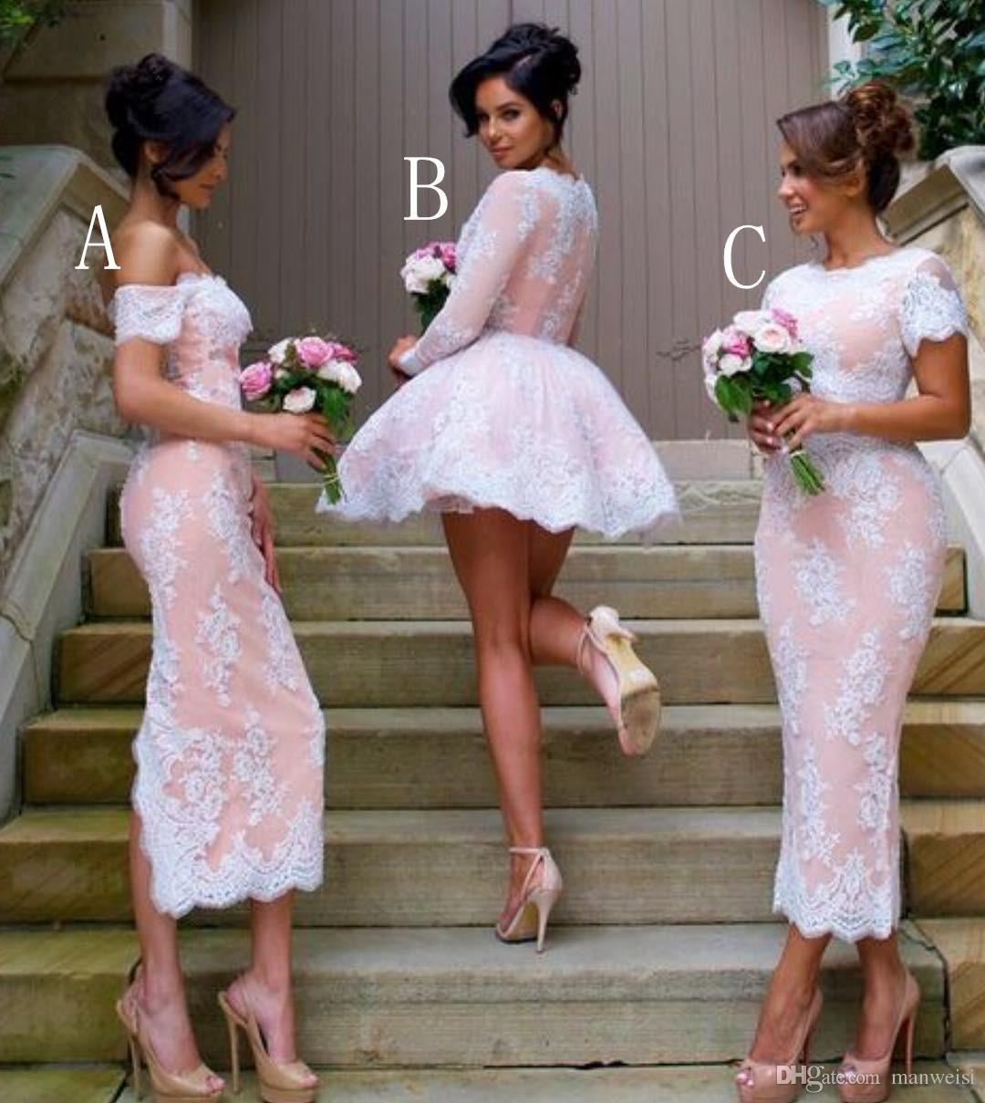 Grosshandel Vintage Lace Brautjungfernkleider Kurz Juwel Langarm Rosa