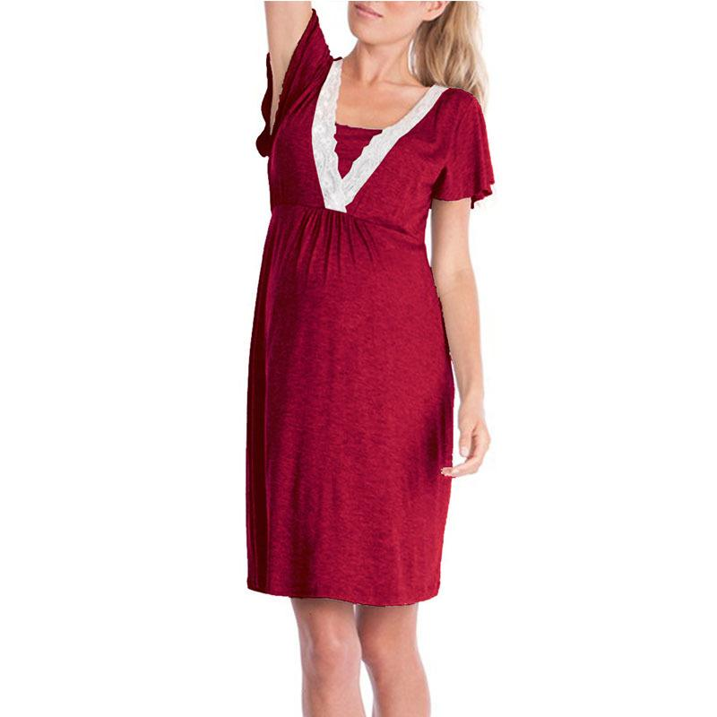 63eb1f3f6 Compre Gravidez Maternidade Pijama Pijamas Enfermagem Grávida Pijama  Amamentação Camisola Elegante Maternidade Enfermagem Vestido De Vanilla14