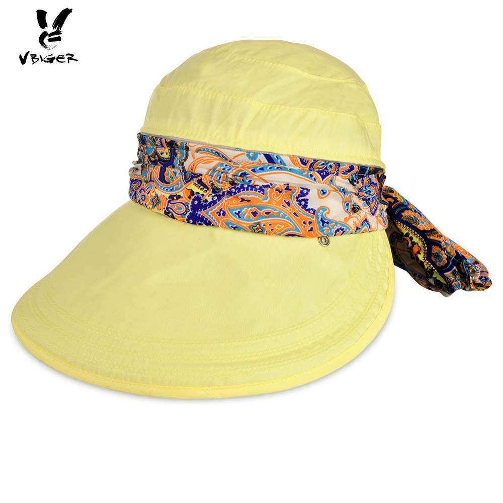 VBIGER Women Detachable Summer Sun Hat Outdoor Sport Foldable Visor ... dce70fb775ab