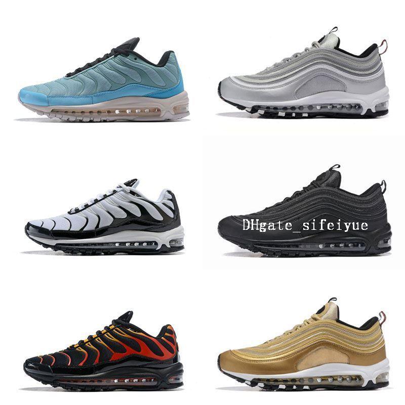 Best New Mens Sneakers Shoes 97 Men Running Shoes Black White Golden