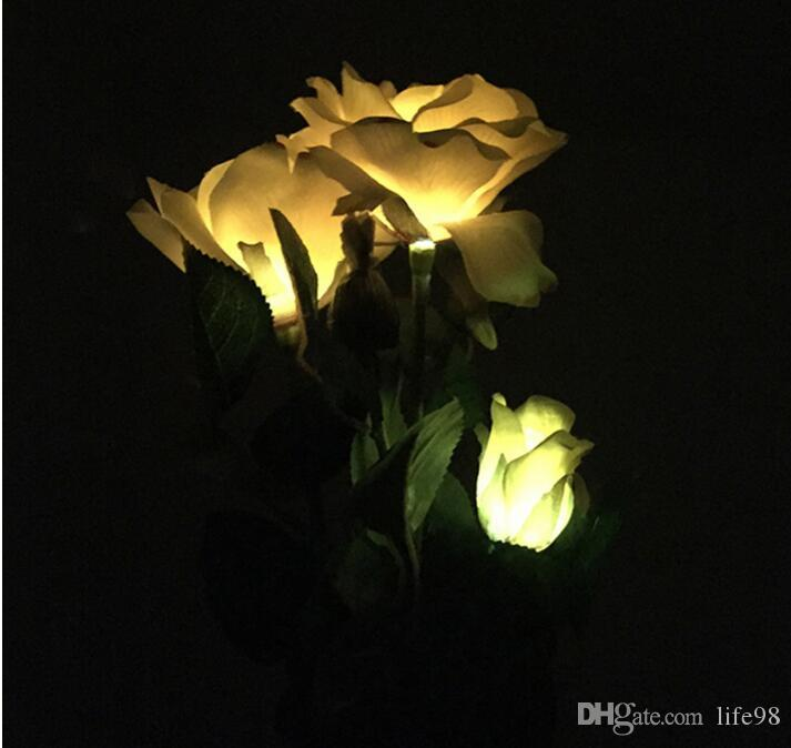 Outdoor Solar Christmas Lights Fake Flower Light Lamp Calla Shape For Outdoor Yard Lawns Balcony Path Party Decoration Three Headed