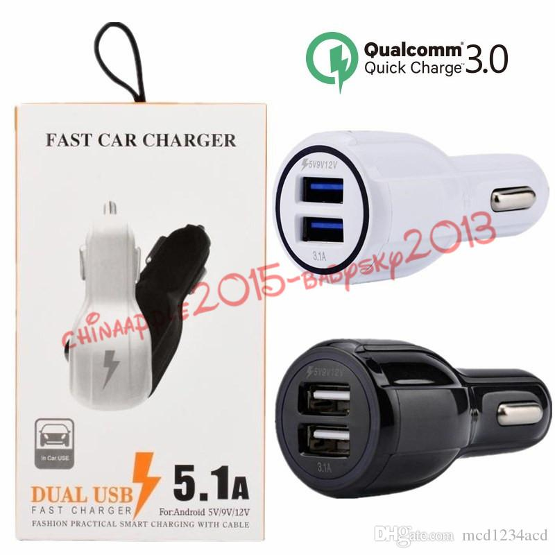4d5343dc14a9c6 Car charger Quick Charging QC 3.0 Dual usb ports 3.1A Car chargers auto  power adapter charger for samsung s7 s8 iphone android phone +Box