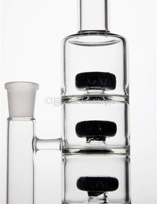 Bongo de plataforma de petróleo Dab rig tubulação de água de vidro pirex tubo de queimador de óleo feito à mão em linha reta preto com 11