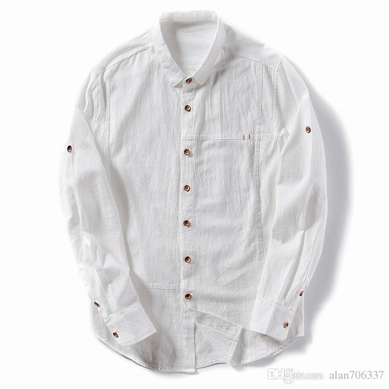 1ee3d350328 2019 Cotton Linen Shirt Men New Turn Down Collar Casual Male Shirt Slim Fit Mens  Shirts Long Sleeve Camisa Hombre Dress Shirt TS 301 From Alan706337