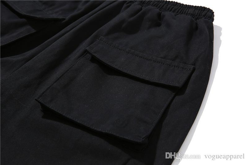 Hip Hop Siyah Pantolon Erkekler Sokak Giyim Giyim Kalem Pantolon Rahat Cepler Fermuar Tasarım Pantolon Joggers