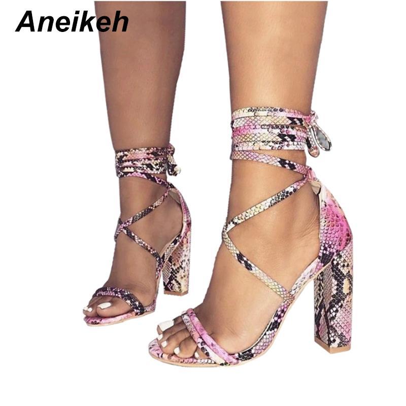 Sandaletten Schuhe Großhandel Damen Sommer Up Lace Print Sandalen High Gebundene Snake Heels Kreuz CxerdBWo
