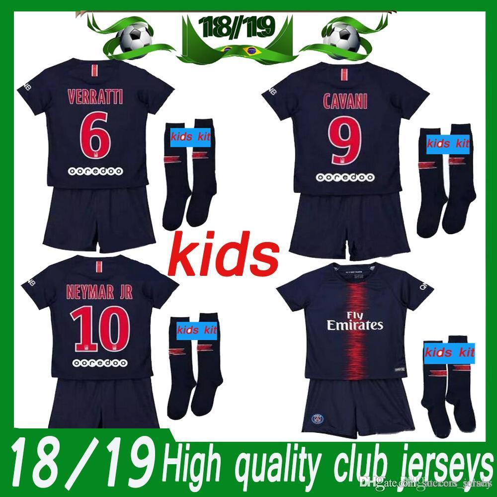 e9fb55ffa6f 2019 Paris Kids Kit 2018 19 Psg HOME Royalblue Kit Soccer Jerseys ...