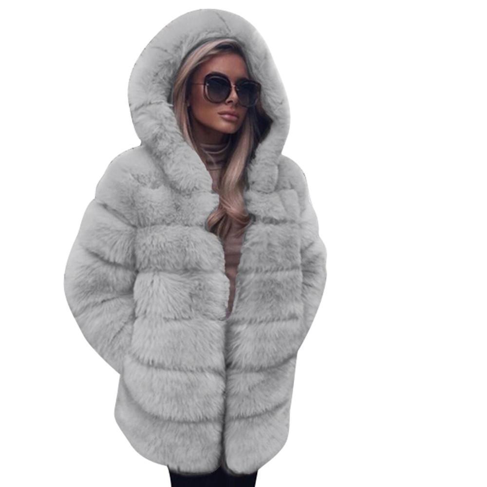 Compre Algodón Top Thin Cardigan Abrigo Mujeres Moda De Lujo Faux Fur Coat  Con Capucha Otoño Invierno Cálido Abrigo USPS Dropshipping   927 A  44.85  Del ... 25bd3666d9a