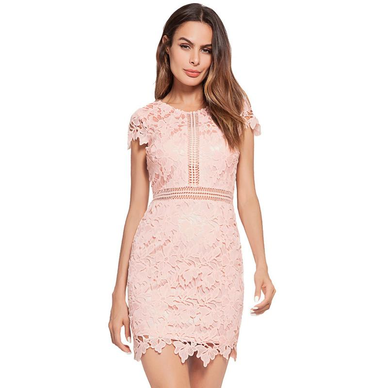 Sexy Lace Evening Dresses Women Party Dress Short Sleeve Hollow Out ... 3ef6cb5e06a3
