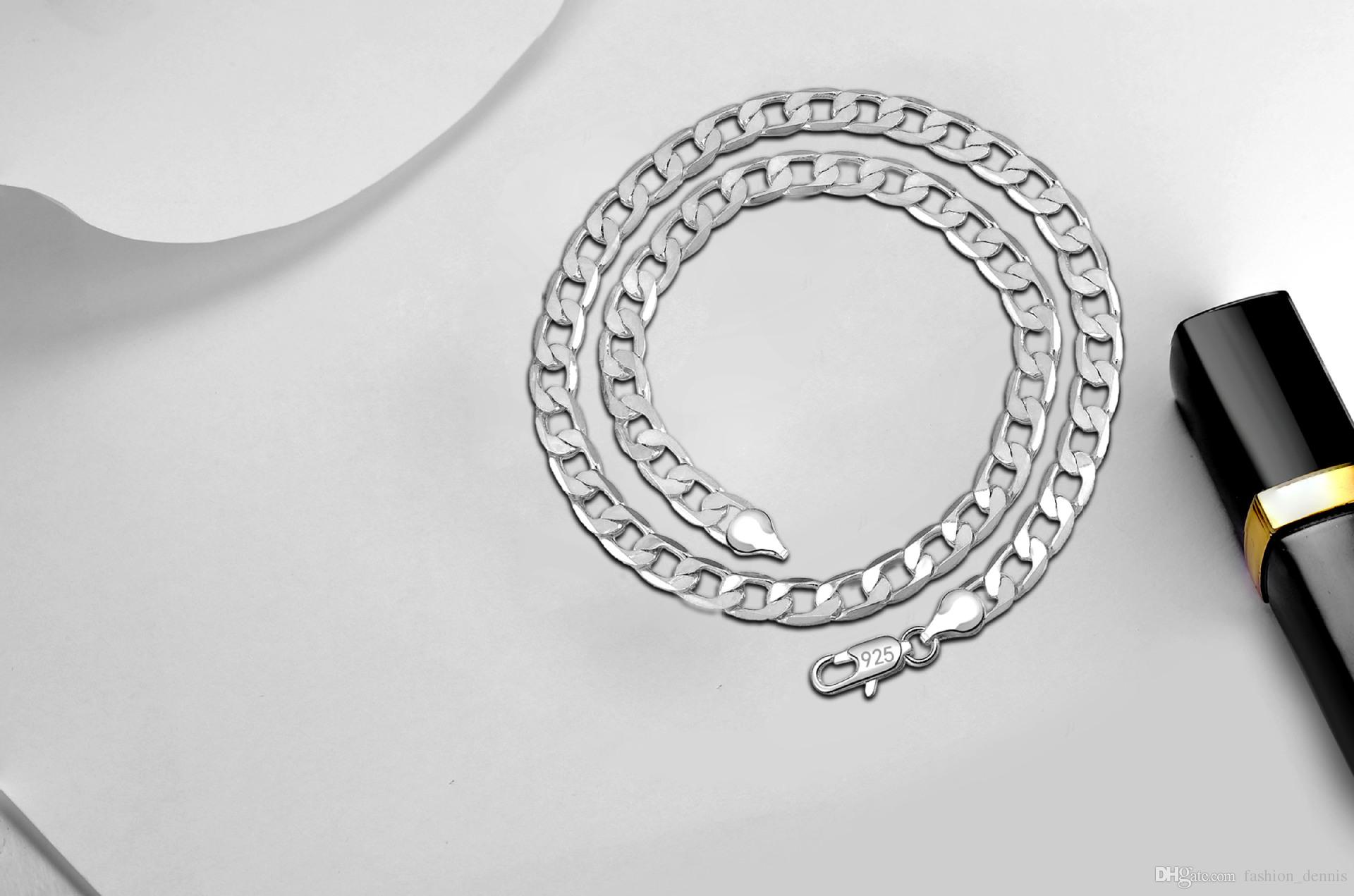 925 sterling silver Cuban chains 6-8MM Ladies Silver Plated necklace For women Fashion DIY Jewelry 16 18 20 22 24 inches