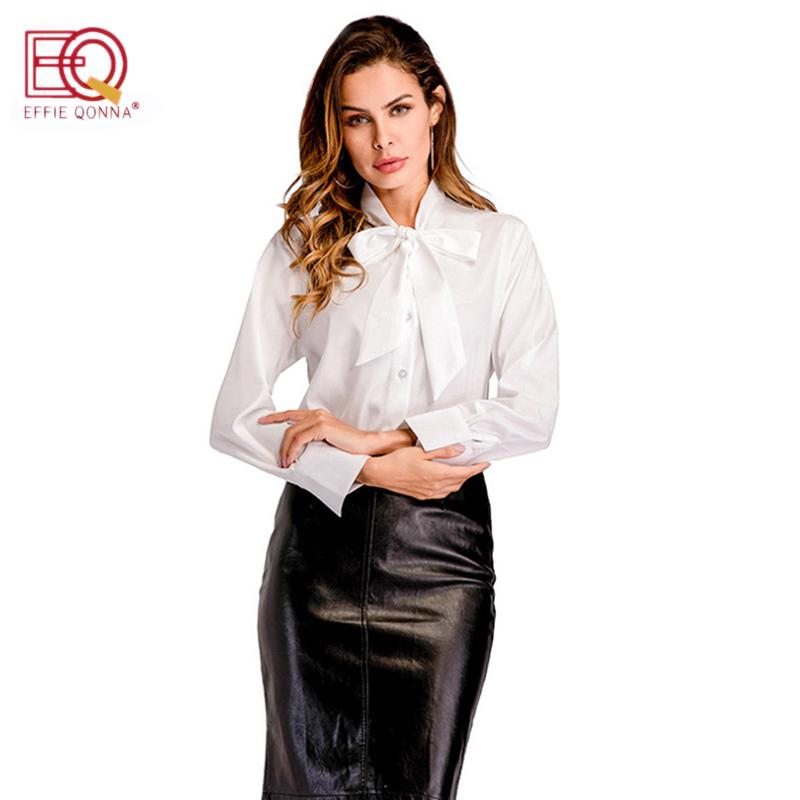 ab754b5a7937e3 2019 Office Bow Tie Blouses Women Long Sleeve White Tunic Button Down  Shirts Female Elegant Top 2018 New Spring Autumn Female Tops From Beasy114,  ...