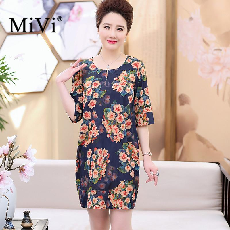 bf0ea8f140c7 2019 MIVI Brand Women'S 100% Real Silk Dresses Summer Vintage Half Sleeve Chiffon  Dress Top Quality Flower Ladies Clothes Plus Size From Ferdinand07, ...