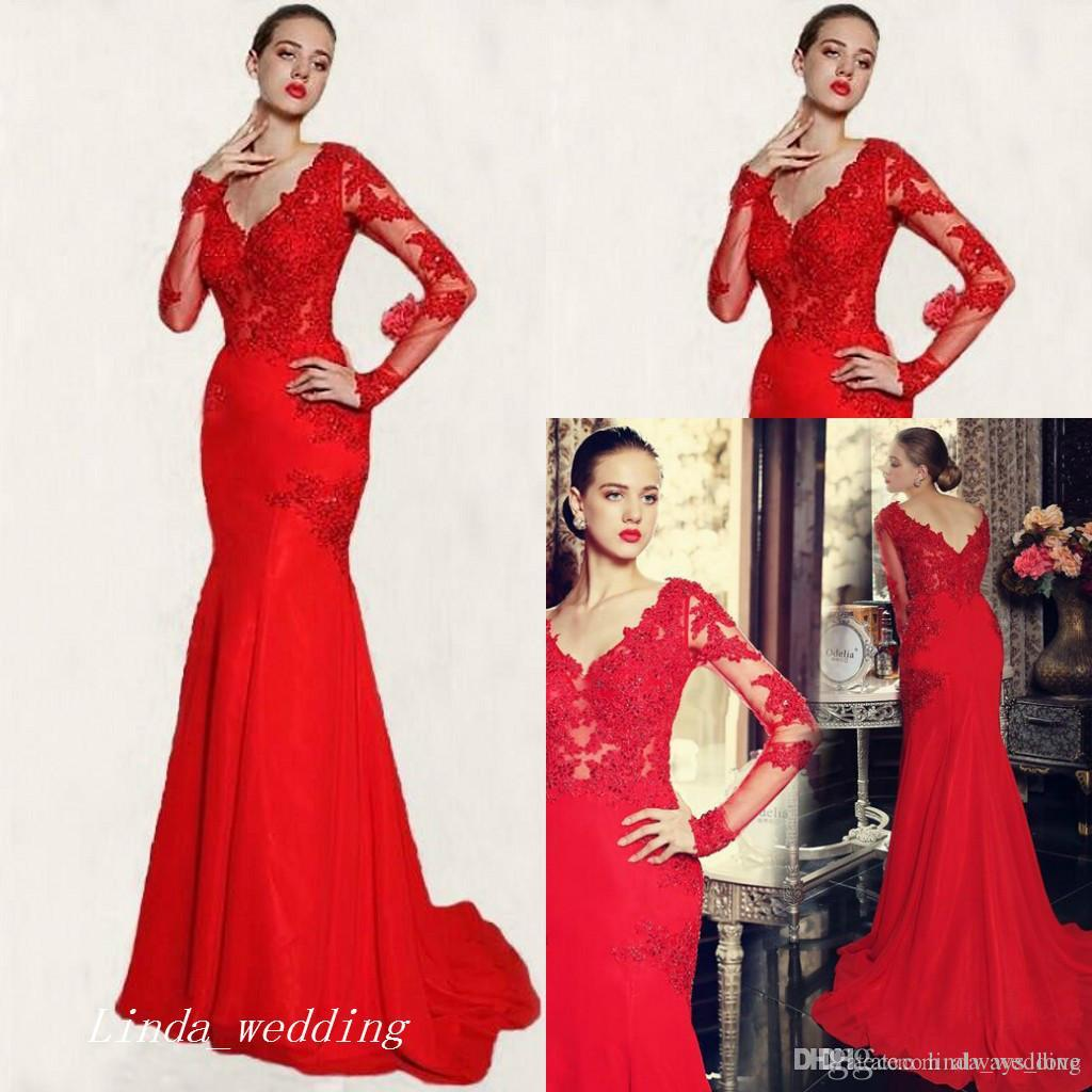 b30cb00716 2017 Long Sleeve Red Mermaid Evening Dress Lace Prom Dress Formal Event Gown  Plus Size Robe De Soire Vestido De Festa Longo Mermaid Evening Dresses Midi  ...
