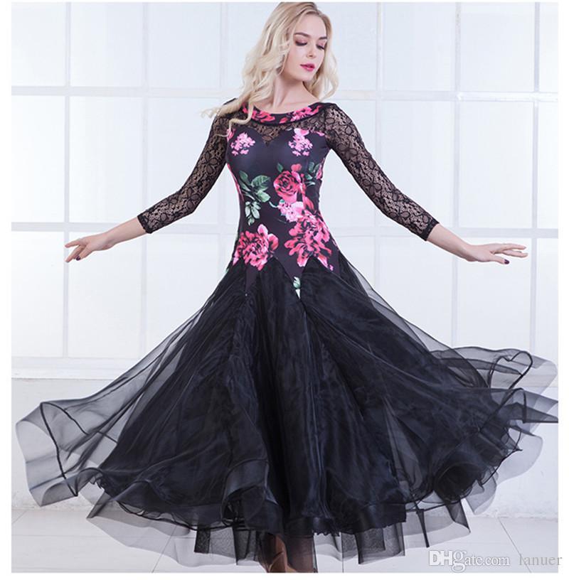 nero verde adulti / ragazze ballo vestito da ballo moderno valzer standard concorso danza abito fiore stampato pizzo cucitura abito