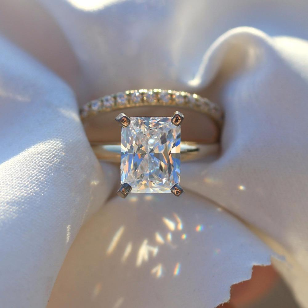 2019 14k Yellow Gold Cushion 27 Carat 7x9mm Df Moissanite Engagement Halo Ring Set Lab Diamond Solitaire Wedding For Women S923 From Ruiqi08: Cushion Cut Moissanite Wedding Ring Sets At Reisefeber.org