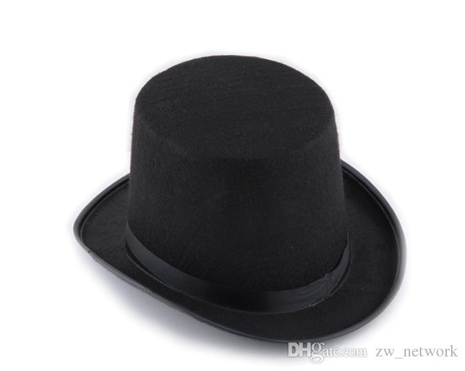 Retro Classic Black Top Hat Magic Hat Abraham Lincoln Hats Masquerade Party  Dress Up Halloween Accessory Tall Black Felt Hat for Men Women Black Top Hat  ... 60e6e542230