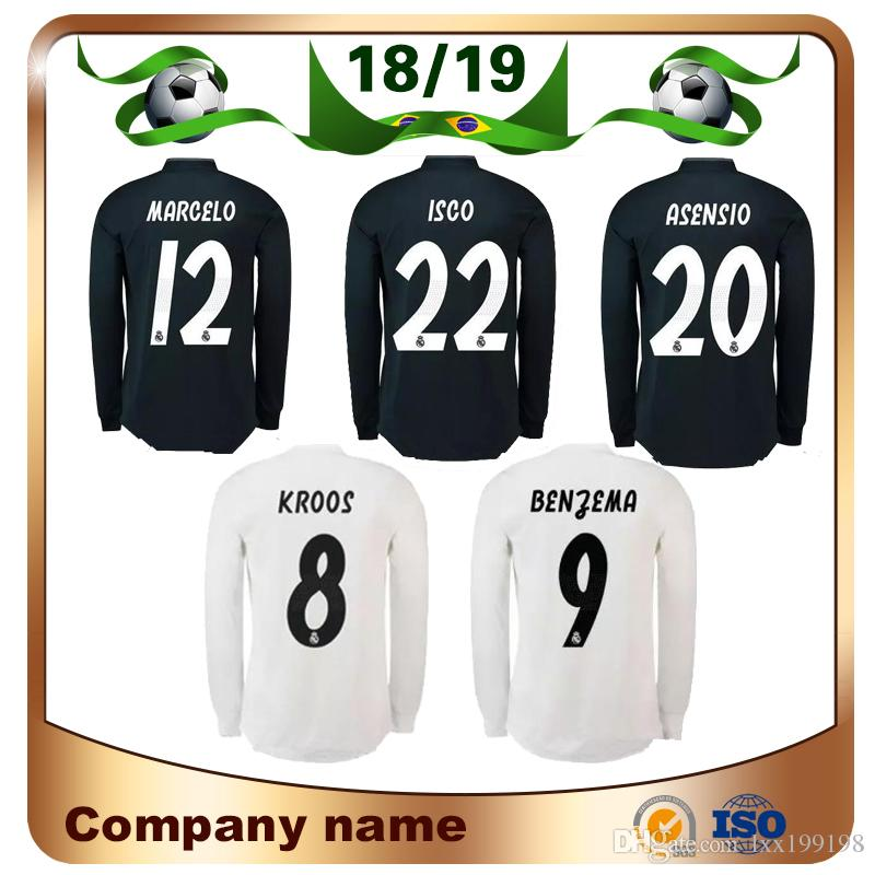 2019 18 19 Real Madrid Long Sleeve Soccer Jersey 2019 Home  10 MODRIC Soccer  Shirt BALE MARCELO ASENSIO ISCO Third Red Football Uniforms Sales From ... 8a56b63c9