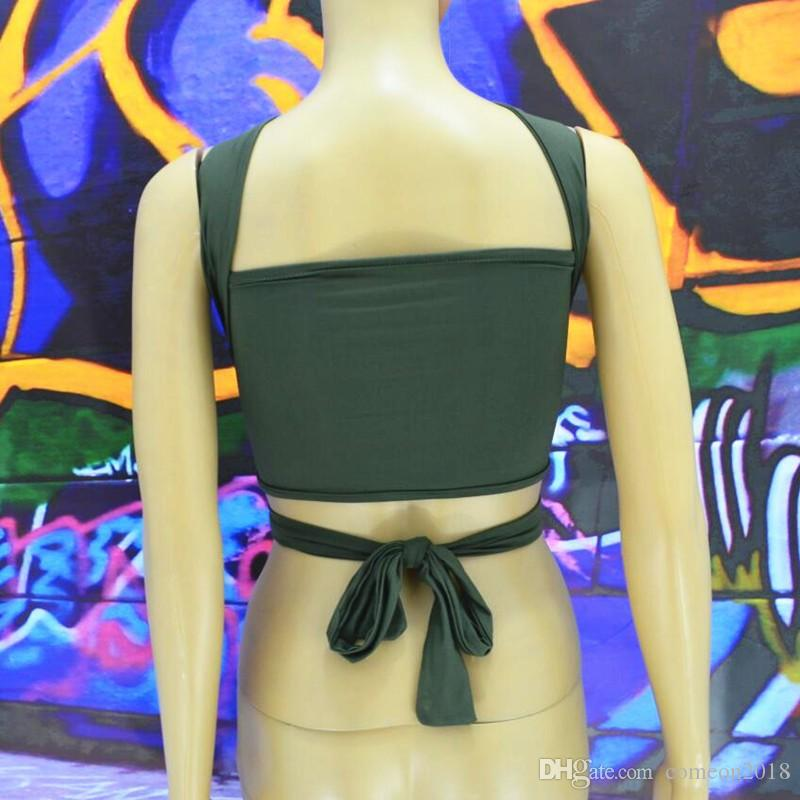 Sexy Camisole Womens Backless Tank Top Black Khaki Women's Tops and Tees Underwear External wear Bandage wrapped chest Lingrie