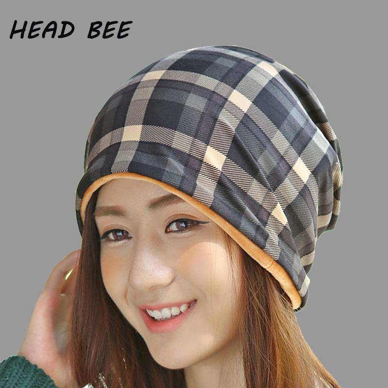 HEAD BEE Brand Beanies Hat Velvet Lattice Women Plaid Winter Cap Cotton  Knitted Hat Skullies Ladies Bonnet Beanies For Girls Baby Hat From Copy04 738e978e437