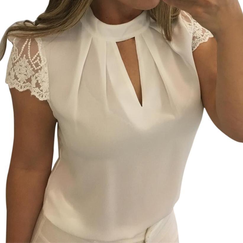 a3ec958a7 Compre Feitong Verão Chiffon Tops E Blusas Mulheres Sexy Blusa De Renda  Transparente Senhoras Coreano Moda Manga Curta Blusa Branca De Tayler