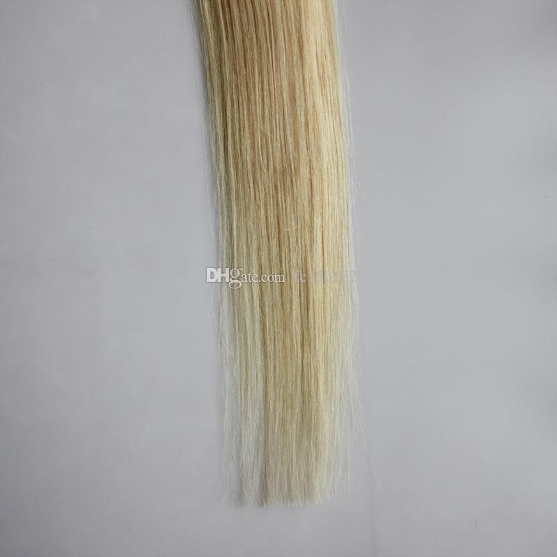 613 отбеливатель блондинка машина Реми волосы на клеи невидимые ленты PU кожи утка 100 г ленты в человеческих волос расширения прямые 40 шт.