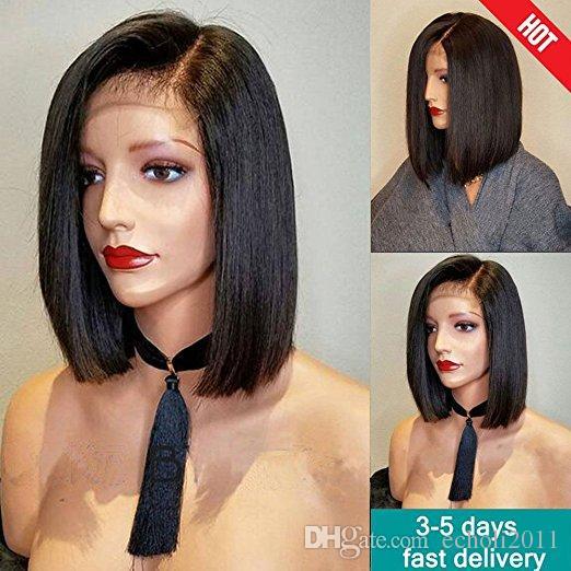 8A Perulu Saç Bob Kesim Tutkalsız Tam Dantel Peruk Kısa İnsan Saç Siyah Kadınlar Için Dantel Ön Peruk 130 Yoğunluk