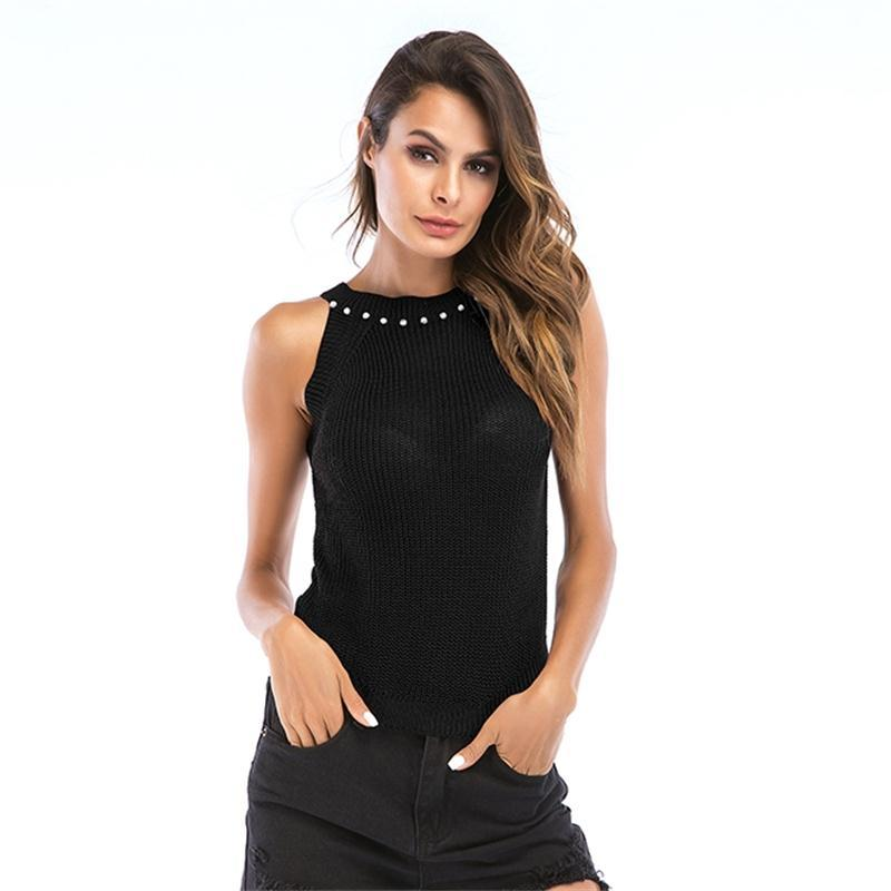 72bd7332ae5 2019 Women Sexy Knitted Tank Top Casual Summer Vest Camisole Sleeveless  Bead Halter Neck Crop Tops Basic Solid Slim T Shirt Talever From Tt2015, ...